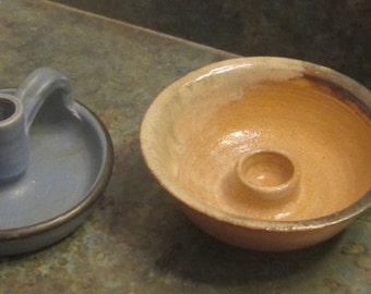 2 Handmade Pottery Candle Holders 1975 and 1983