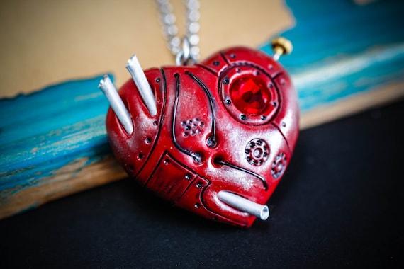 Annabel Lee - Red Steampunk Dieselpunk heart pendant, Edgar Allan Poe inspired, Gothic handmade OOAK necklace,