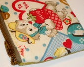 OOAK Kawaii Vintage Valentines Padded Zippered Pouch -- Yellow Leather (No. 1)
