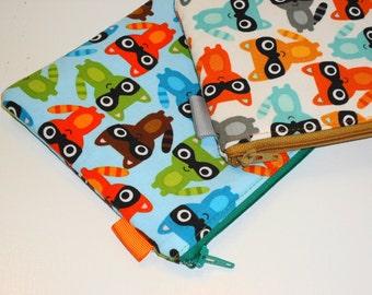 Raccoons Padded Zippy Purse Set / 2 Pack Promo Clutches /  Woodland Cosmetic Cases / Kawaii Travel Accessories / Handbag Organizer
