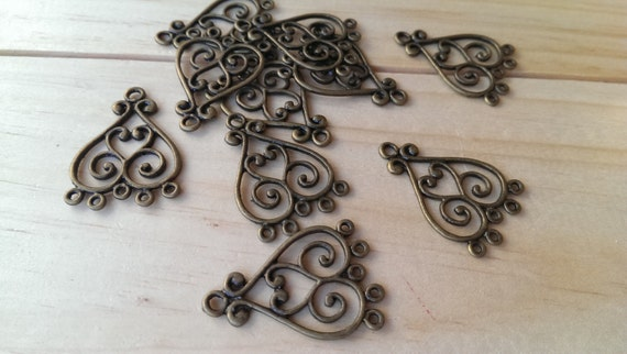 10 Pieces 5 Pairs Antiqued Bronze Chandelier Earring