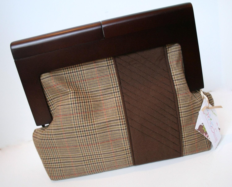 Brown Tweed Fabric Clutch Bag, Handmade Unique Clutch Bag, Wooden ...