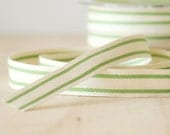 """5 Yards Cotton Ribbon Green Stripe French Style Celery Green 5/8"""" Natural Cotton Twill Tape"""