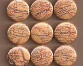One Inch Magnet Set - Vintage Alberta Map - One of a kind set