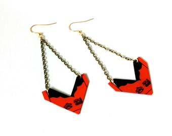 Chevron Cut-Korean letters Hwatu, Hanafuda card earrings
