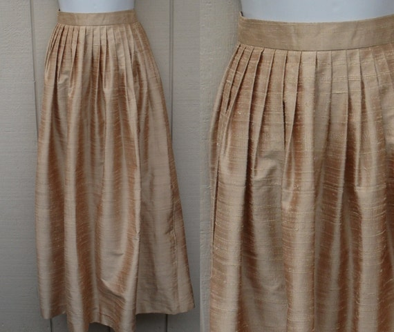 RESERVED Champagne Gold Raw Silk Maxi Skirt / long full length