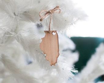 Illinois State Ornament - Bamboo - Illinois Ornament Christmas Ornament Chicago Ornament Wooden State Ornament IL Pendant Charm With Heart