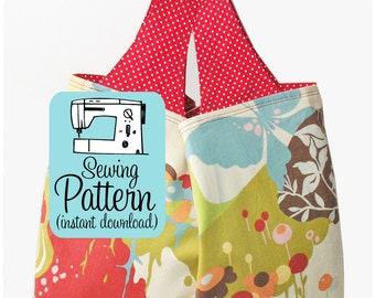 Grocery Bag PDF Pattern | Reusable Market Shopping Bag Pattern | Project Tote Bag Pattern