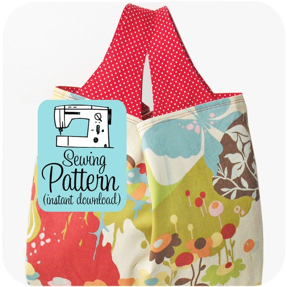 Grocery Bag Sewing Pattern - PDF (Instant Download) - 3 Sizes