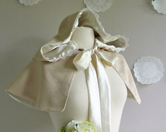 Bridal Capelet Forest Fairytale Bride Cream Faux suede and satin.