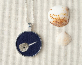 Narwhal Necklace - Embroidered Felt - Nautical Pendant - Stitched Portrait - Circle - Navy Blue