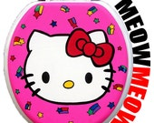 Hello Kitty Hand Painted Toilet Seat by Debbie Is Adopted