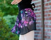 Black and Flora Chiffon Ballet Wrap Skirt