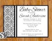 Damask Baby Shower Invitation Black and White Damask Invite Feminine Baby Shower Invite Printable Shower Trendy Elegant Invitation (PI-63)