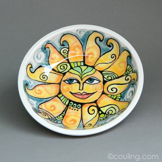 Happy Sun - Celestial - Ceramic Pottery Hand Built and Painted Small Bowl