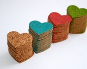 Cork Hearts, Plain, Red, Green, Blue -hand punched- Pkg of 25 Wedding Decor, Scrapbooking