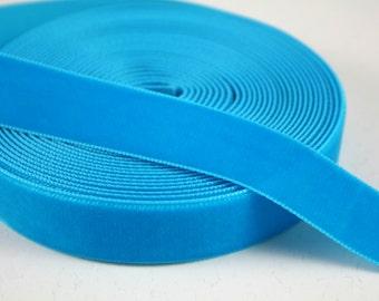 Turquoise Blue 22 mm Polyester Velvet Ribbon- 1 Yard