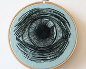 Eye Embroidery Hoop Art Hand Stitched Illustration Wall Plaque