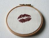 Hand Embroidered Hoop Art Deep Red Lipstick Traces Cream Silk
