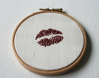 Hand Embroidered Hoop Art Deep Red Lipstick Traces Cream Silk