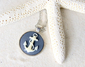 Round Anchor Necklace - ivory and navy blue -  anchor choker - anchor cameo  - Nautical Fashion - Anchor Jewelry