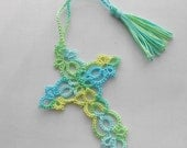 Tatted Cross Bookmark - Tatted Lace Bookmark - Tatted Bookmark - Made To Order - Your Color Choice