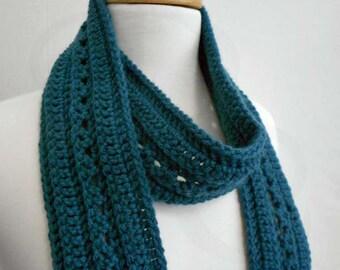 Crochet Scarf - Fashion Scarf - Peacock Blue Scarf - Ready to Ship