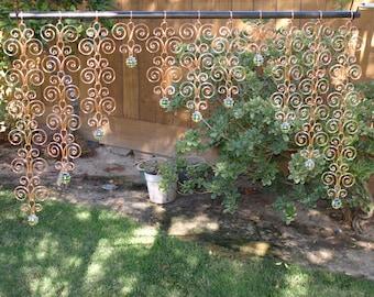 38 x 22  Solid Copper and Glass Valance Sun Catcher Swirl Indoor Outdoor Curtain Wall Hanging Handcrafted Suncatcher Metalwork Garden Decor