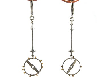 Delicate Steampunk Earrings with Antique Pocket Watch Gears Fleur de Lis Details in Silver by Nouveau Motley