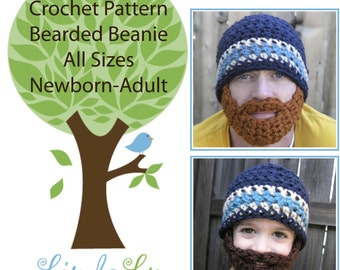 Instant Download- Pattern for Crochet Bearded Beanie sizes Newborn - Adult