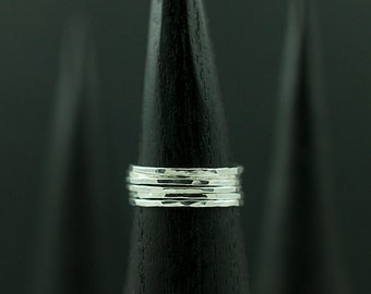 Hammered Stacking Rings (SIX RINGS) in Recycled Sterling Silver