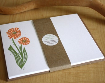 Orange Flowers Stationery - Flower Note Cards - New Botanical Collection - Hand Printed Stationery - Set of 6