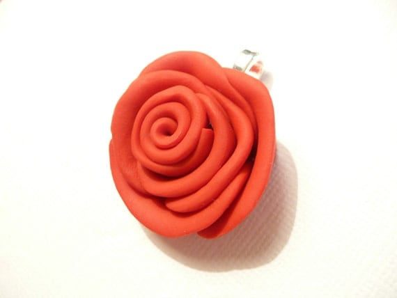 Red Rose Pendant, Flower Jewelry, Floral Jewelry, Summer Jewelry, Custom Color Rose, Optional Ball Chain Necklace, polymer clay