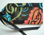 Fabric Luggage Tag made with Black Teal and Orange Print