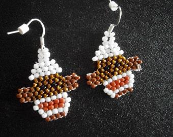 Sock Monkey Earrings, Beaded Monkey Earrings with Silverplated Earwires, Willow Glass