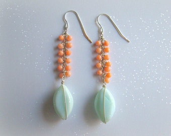 Peruvian Opal and Coral Dangle Earrings-Handmade in Sterling Silver