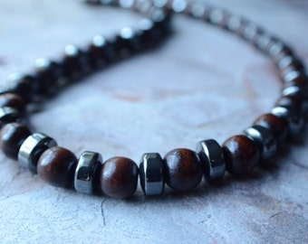 The Camshaft- Wood and Hematite Men's Necklace