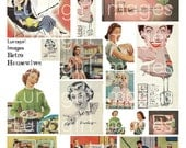 RETRO HOUSEWIVES 1950s digital collage sheet vintage images kitsch women housework Mid-Century advertising art kitchen Fifties mom DOWNLOAD