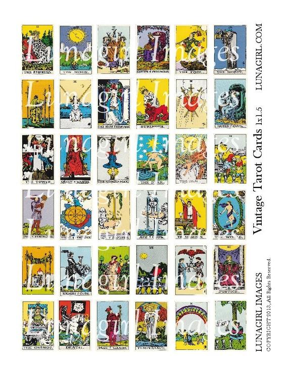 Vintage TAROT CARDS Digital Collage Sheet 1x1.5 Tiles Pendants