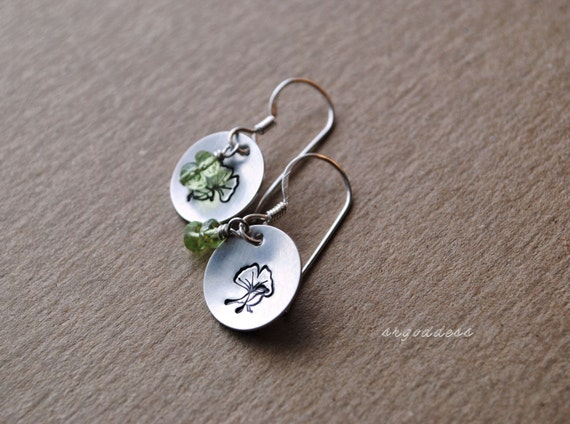 BIRDS and GINKGO all sterling silver and peridot earrings by srgoddess