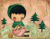 The Star Knitter - Giclee Reproduction Of Original Collage Painting By Danita Art (Paper Prints and ACEO Wood Mounted)