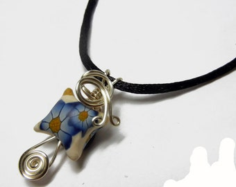 Wire Wrap Polymer Clay Fairy Pillow Pendant with Necklace - Design 7