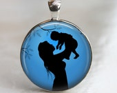A Mother's Love - Glass Pendant in Silver Bezel Setting - 30mm