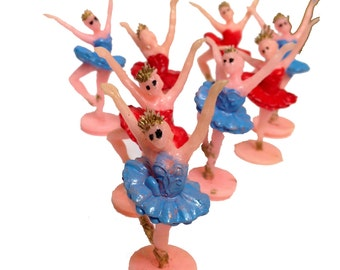 8pcs ZOMBIE BALLERINA ARMY Vintage Kitschy Plastic Red Only