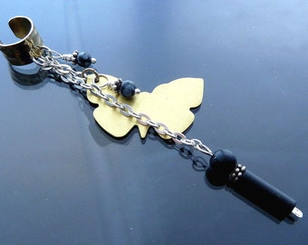 Long Butterfly in flight Ear Cuff with sterling silver gold brass black onyx n snowflake obsidian necklace