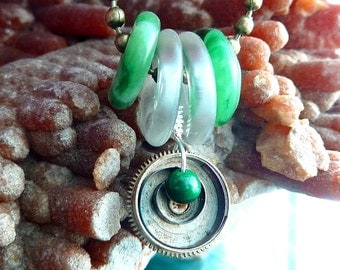 Discs Necklace Green Jade and Rock crystal Quartz donut discs with antique watch parts steampunk