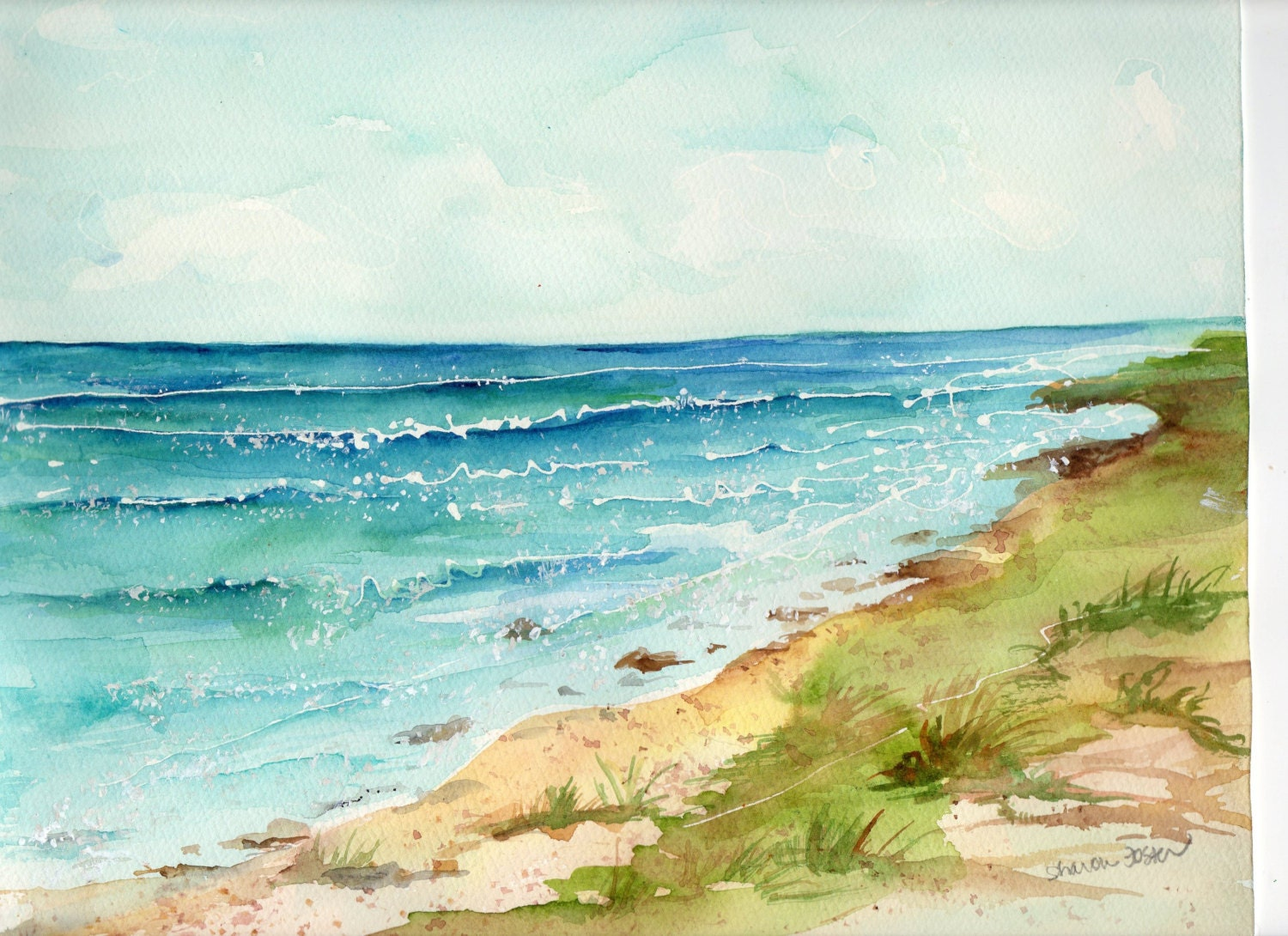 aruba original watercolor art seascape 10 x On ocean watercolor painting