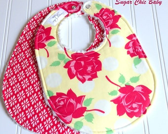 SALE - Baby Bibs for Baby Girl  - Set of 2 Triple Layer Chenille   -  Shabby Chic Cottage Florals in Yellow