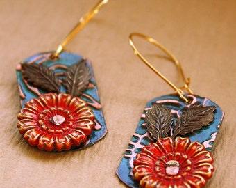 Chrysanthemum Earrings - Embossed Copper - Riveted Brass - Red Blue Green - Flower Leaves - Glass Beads - Chain