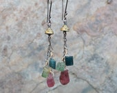 TOURMALINE earrings, multi color Tourmaline with Blue, Greeen and PInk, sterling silver and 14k gold filled
